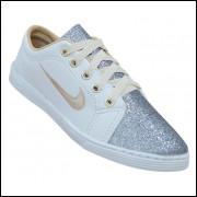 Sapatênis Nike - Sapatênis Feminino Nike Branco com Glitter Prata